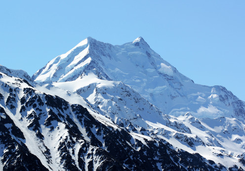 Aoraki Mount Cook, New Zealand's highest mountain, seen from Tasman Lake.