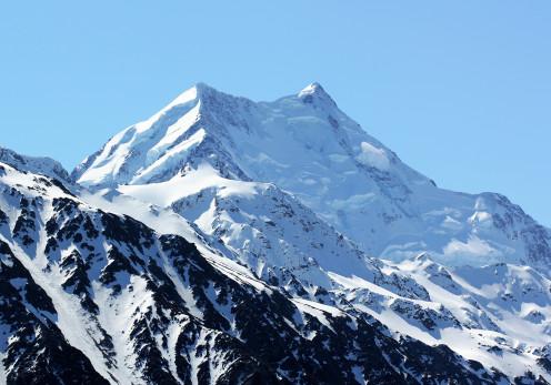 Aoraki Mount Cook, New Zealand's highest mountain, seen from Tasman Lake.
