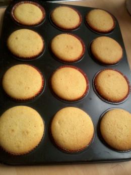 my homemade vanilla cupcakes after baking