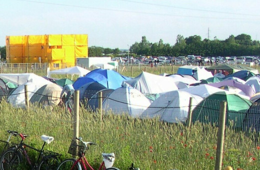 A typical camping area at a large festival