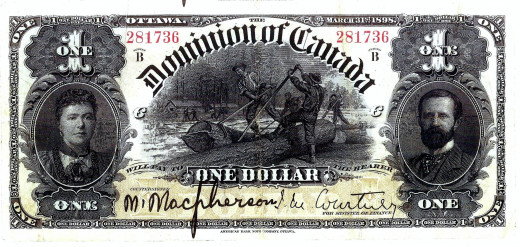 "The Duke and Duchess appear on the ""Dominion of Canada's"" one dollar bill in 1898.  Note:  The American Bank printed this bill."