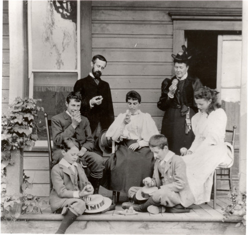 Lord and Lady Aberdeen with governess, Ebba Wetterman, and sons and daughter, George, Dudley, Marjorie and Archibald.  They had a daughter that died in the first year of life in 1882...crib death.