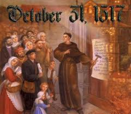 Martin Luther at the Wittenburg Door