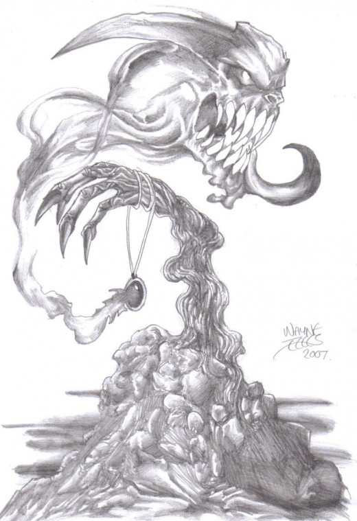 Demon Pencil Drawing.