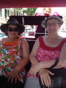 My mom and daughter ready for the start of our carriage ride