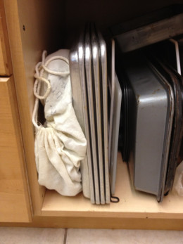 Griddle stored in cotton sack, left, doesn't take too much cabinet space
