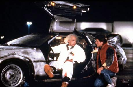 Marty McFly and Doc by the DeLorean