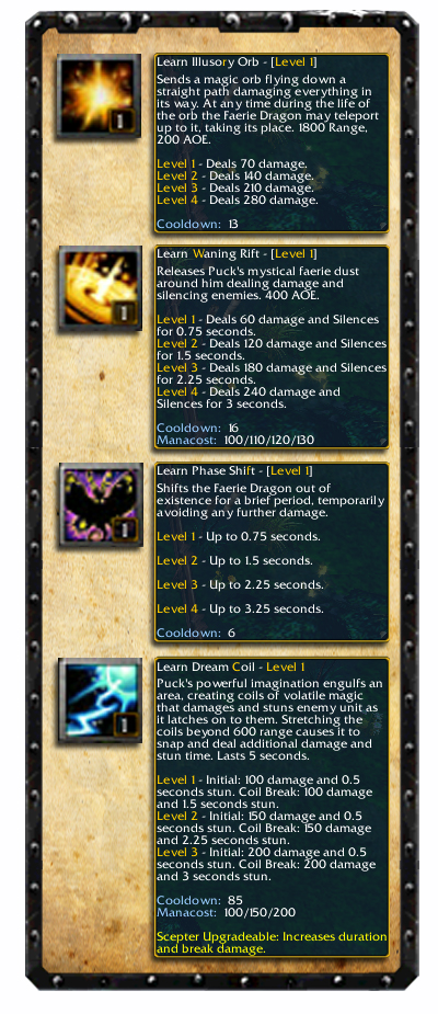 Faerie Dragon Skill set