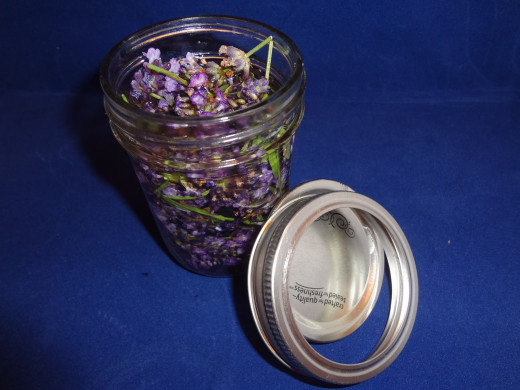 Cover the lavender with alcohol.