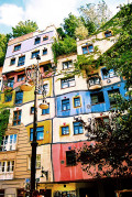 This house was designed by Hundertwasser and also serves as a gallery for his artwork