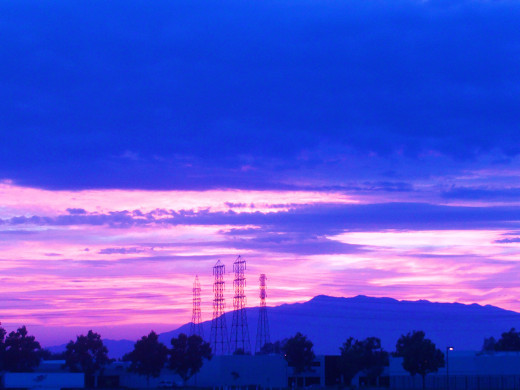 The purple and light pink colors in the sunset.