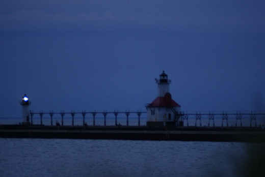 At night, just before the lighthouse is lit.