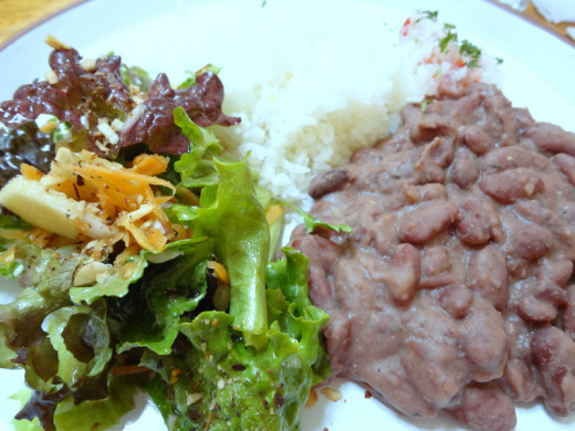 ...a main course of beans, rice and an organic side salad...