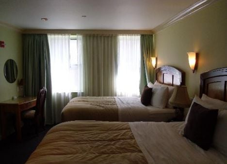 A double room at Hotel Mulberry facing the back.