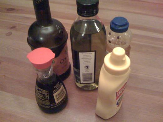 Ingredients for Easy Sweet and Sour Honey Balsamic Vinaigrette.