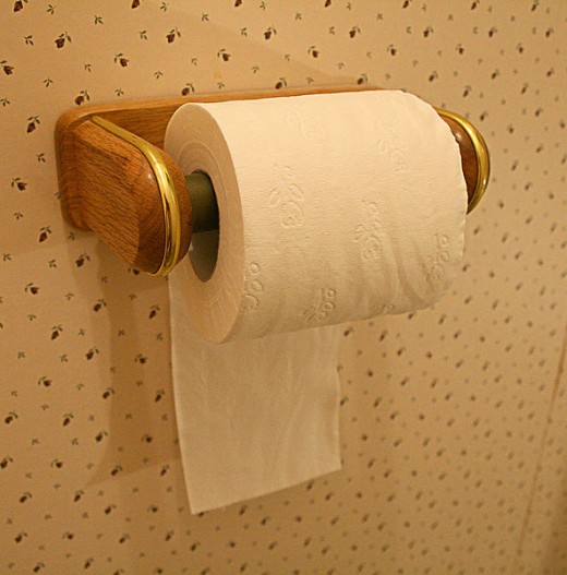 Paper under is useful in small bathrooms or when reaching up.