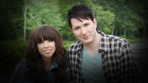 Carly Rae Jepsen and Adam Young from the 'Good Time' music video.