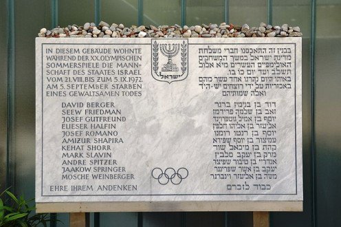 Plaque in front of the Israeli athletes' quarters commemorating the victims of the Munich massacre.