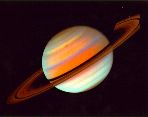 Saturn in false-colors, seen from Voyager 1