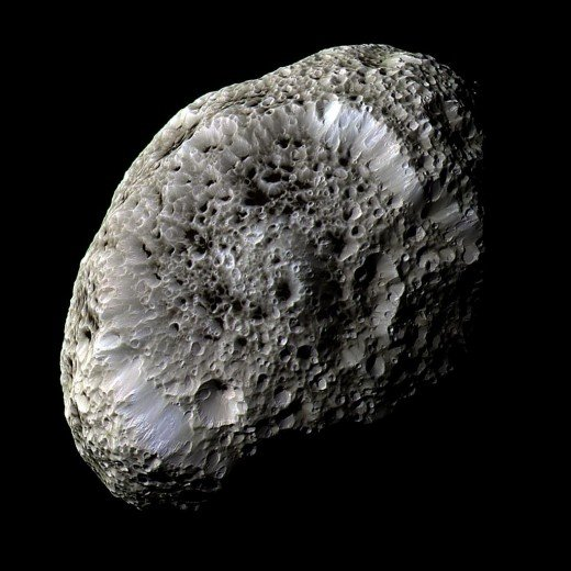 The mottled, sponge-like surface of Hyperion snapped by the Cassini probe.