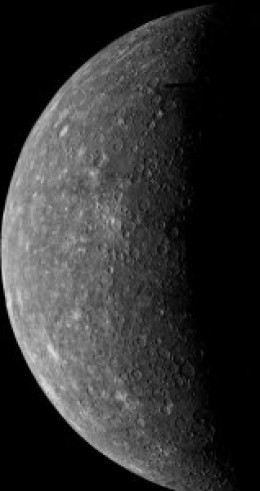 24th March 1974 and Mariner 10 captures the first ever image of Mercury. You cna clearly see plenty of impact craters on the surface of the planet. Mercury experiences the greatest day-night temperature swings in the Solar System.