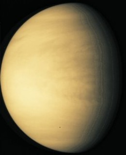 More than 20 spacecraft have visited Venus. This is a fabulous image of our 'Evil Twin.' No surface features are visible through the thick, crushing atmosphere.