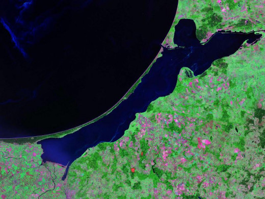 A sample satellite image of a lagoon