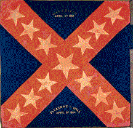 Some Texas regiments had unique flags. The Texans tended to like a large oversize star in the center of their flags.