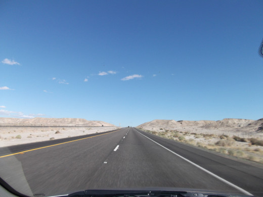 Driving a Nevada highway, en route to Tonopah.