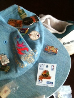 Hat, shoes and pins from Olympics 1996 - Atlanta