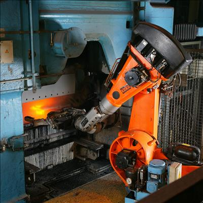KUKA industrial robot operating in a foundry