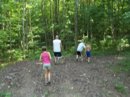 My family hiking to retrieve our Time Capsule from 2011