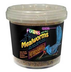 Tub of freeze-dried mealworms.