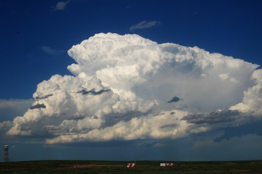 A thunderstorm cell reaching the mature stage
