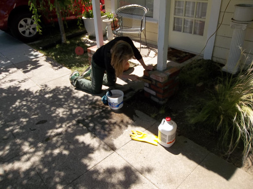 Working on bricks...at this point, after setting the bricks and allowing them to dry; we acid washed the visable exterior(s) to remove old tar, paint, etc.  We used muratic acid commonly used to clean swimming pools and boats.
