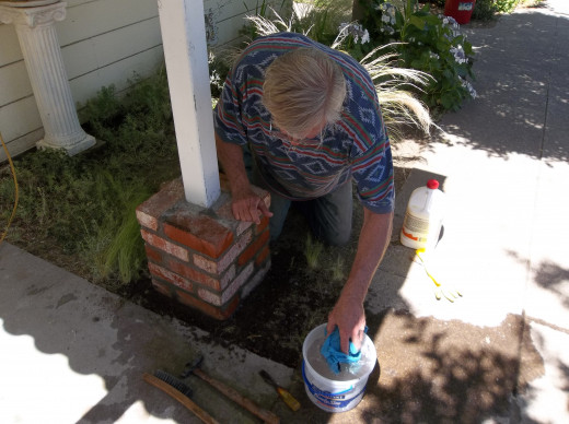 Richard working on bricks