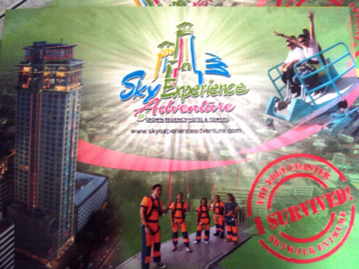 inlcudes a sky experience adventure tour! on top of the building! I never stayed at the hotel but I heard it's a lovely place to stay! however I had a go on the sky adventure tour and it was SCARY!! but EXCITING!