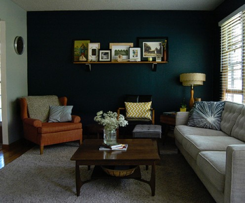 An accent wall will add visual length to a short room.