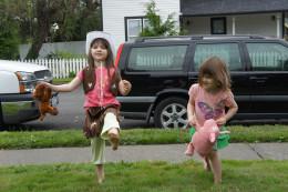 Girls doing the barnyard dance.