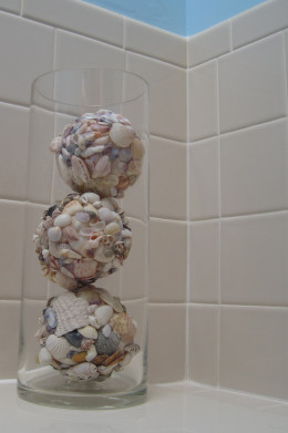 Homemade shell decor balls.