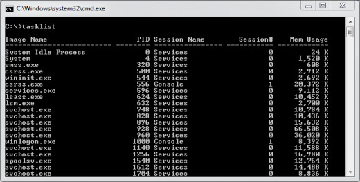 Tasklist command in windows command prompt
