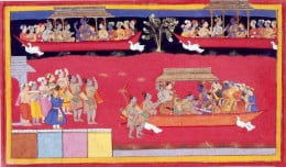 """Rama and his celestial flying machines the """"Pushpak Vimana"""" depicted here as boats held aloft by birds."""