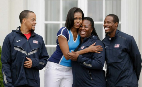 Members of the US Athletics Team and the First Lady