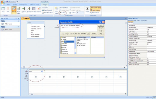 Select Query with the Formula Builder box open