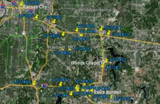 Estimated location of UFOs numbered in order of their occurrence in western Missouri on October 3-4, 2011.