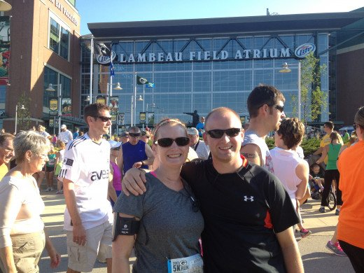 My brother and I in front of Lambeau prior to the start of my first 5K...excited to see if all my hard work paid off.