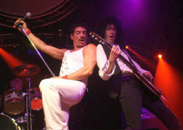 The tribute band called Queen Nation. Amazing entertainers! There are two guys that play Freddie Mercury, the guy we saw was Gregory Finsley, he was excellent!