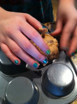 A great tip is to put flour on your hands to keep the cookie dough from sticking while you are making the bowls.