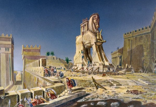 Beware of Greeks bearing gifts. A painting of the Trojan Horse.