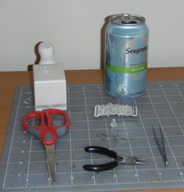 Supplies needed for aluminum can earrings